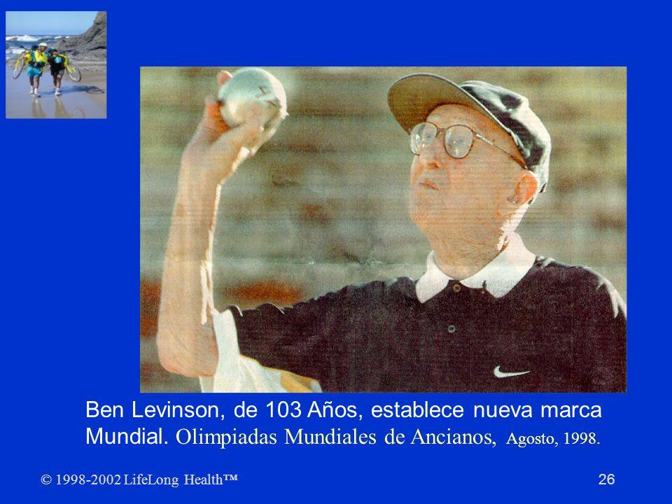 In 1998, el periódico The Oregonian publicó una historia acerca de un admirable centenario: el Sr. Ben Levinson, de 103 años, quien estableció una nueva marca mundial en los Nike World Masters Games [Competencias Mundiales Nike]. Lanzó la bola de 8.5 lb., a una distancia de hasta 10 pies y 1.25 pulgadas, una nueva marca para hombres de más de cien años (la marca anterior era de un poco más de 9 pies).
